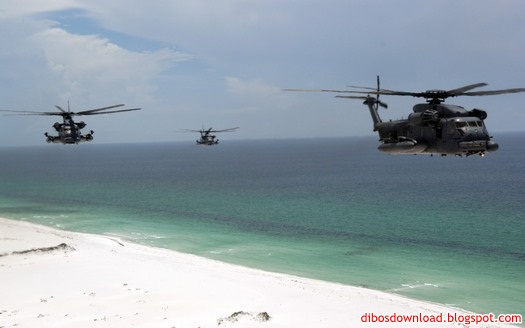 helicopters flying at the beach