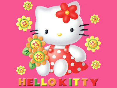 Cartoons Wallpaper 1024 768 - Cute Hello Kitty Pink Background Red Dot Dress Sunflowers