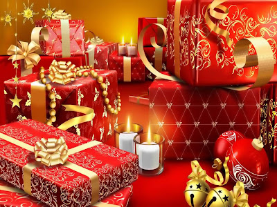 Holiday Wallpaper 1024 768 - Lots of Red Box Gifts On Christmas Eve
