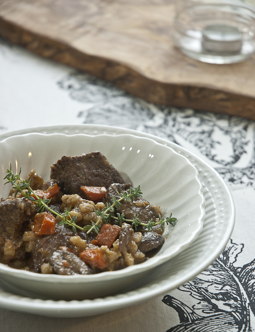 Beef and Barley Stew with Mushrooms