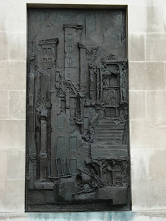 Sculpted relief of village of Belchite - International Brigade Memorial at Notts County Hall