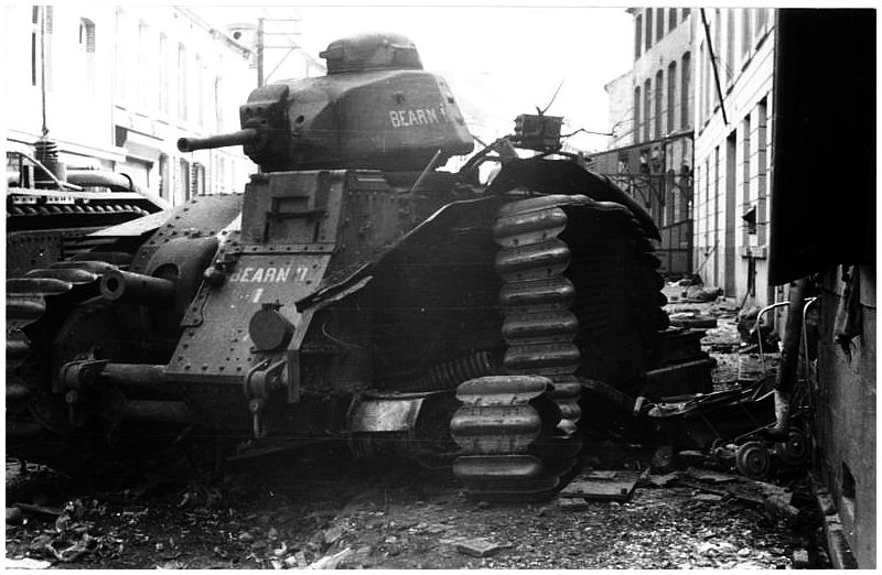 Knocked out French Char B tank