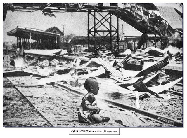child cries nanking railway station destroyed