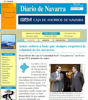 Portada de Diariodenavarra.es el día de su estreno (14/10/1998)