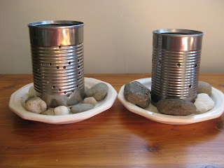recycled can craft: hammered candle holders