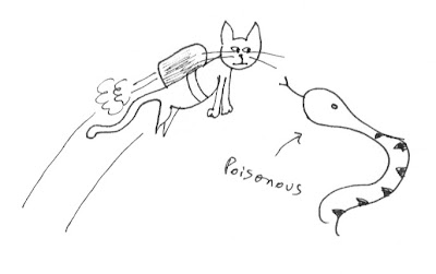 space cat flies over poisonous snake