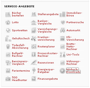 Screenshot von Spiegel.de mit den verlinkten Service-Angeboten