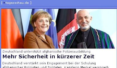 Screenshot von Tagesschau.de mit Foto von Merkel und Karsai