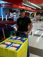 Mark Kirwin at the grocery getting disaster relief supplies.