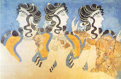 "Οι ""Γαλάζιες Κυρίες"" της Κνωσού. (The ""Ladies in Blue"" from the Palace of Knossos Heraklion Crete)"