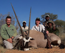Vicki Roden and her unplanned gemsbok, with PH Harry Claassens (www.harrysafaris.co.za/) and crew.