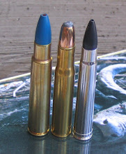 The .404 Jeffery flanked by a .416 Rigby on the left and a .375 H&H on the right.