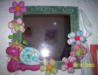 ESPEJO Decorado Con Flores Y Un Caracol  Todo Pintado  Recuerda Son