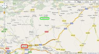 Mapa de carreteras de la zona