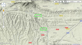Mapa con relieve de la zona