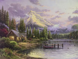 Lakeside Hideaway. Thomas Kinkade. Park West Gallery.