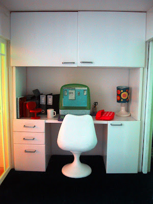 Modern miniature Kaleidoscope doll's house study nook.