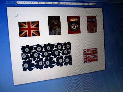 Screen shot of a Word document containing images of vintage tea towels, a union jack and a length of Marimekko Unikko fabric.