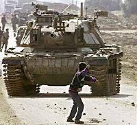 Pedra contra tanque