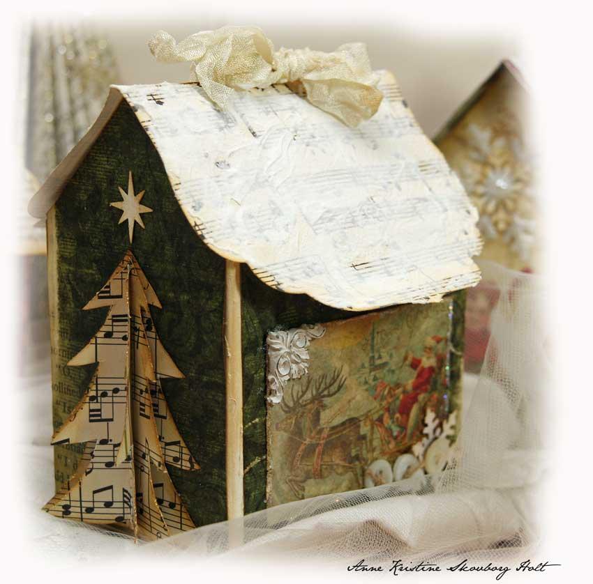 Новогодний домик своими руками из коробки фото