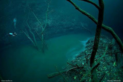 Penyelam tu siap terjun dalam sungai tu lagi. serius cantik gambar ni