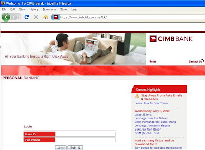 Fake CIMB Login Page