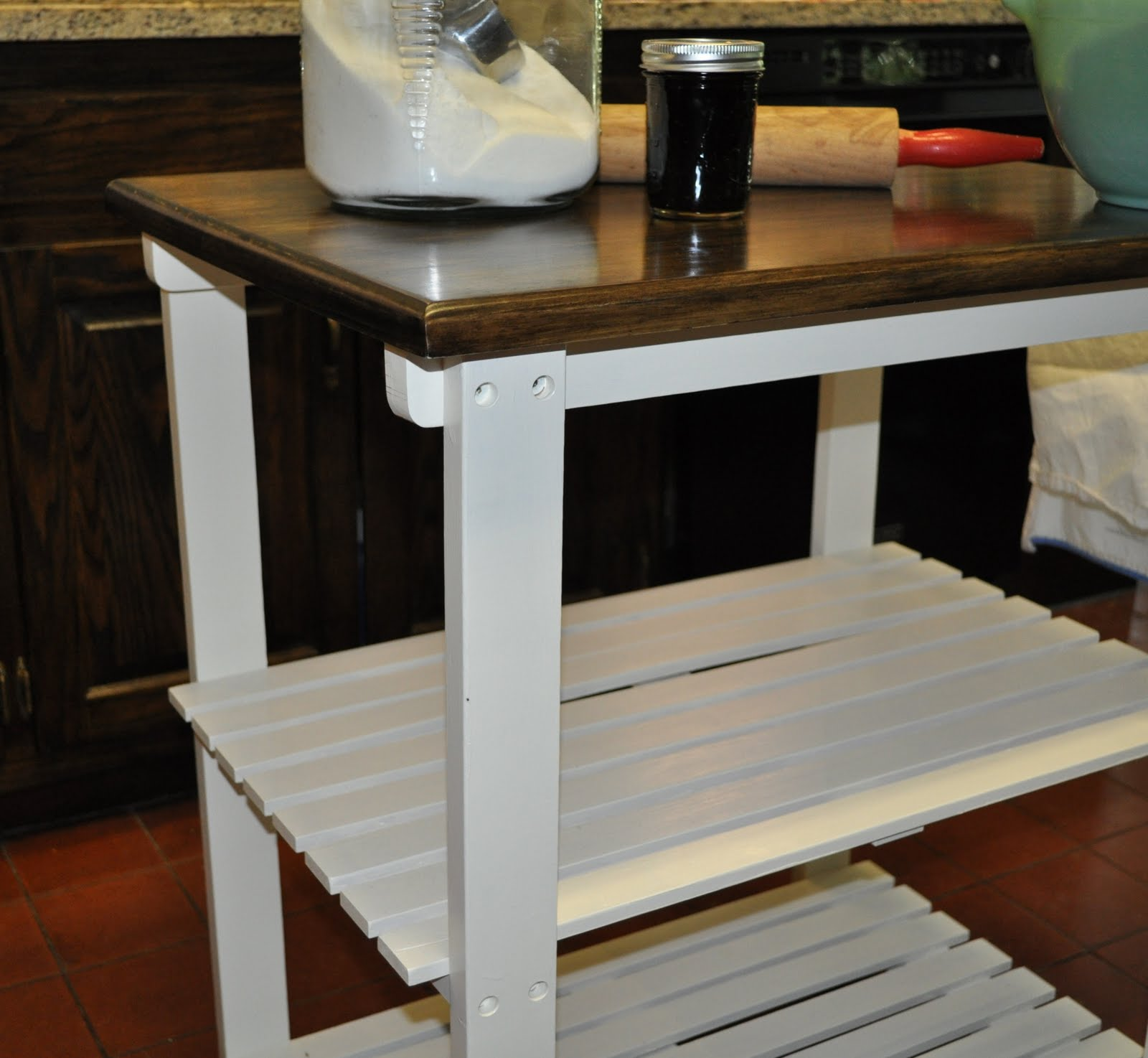 Remodelaholic small table kitchen island redo guest for Kitchen island table