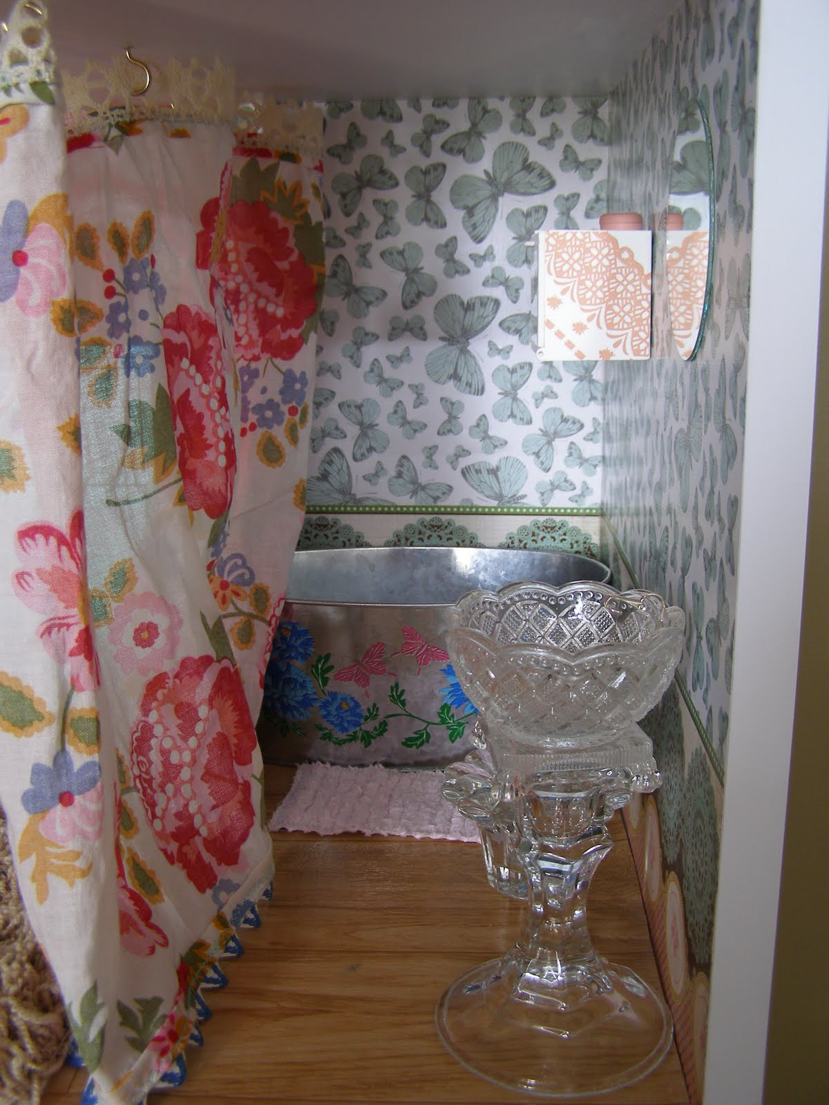 Scrapbook paper dollhouse wallpaper - I Then Glued A Clip Earring Post To The Sink For A Faucet And Used Regular Metal Earrings Backs On Each Side Of The Faucet For Faucet Handles