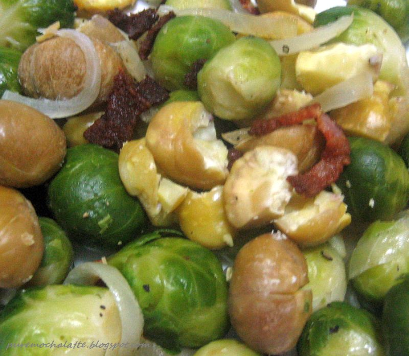 ... : the finer things in life: Brussels Sprouts with Bacon and Chestnuts