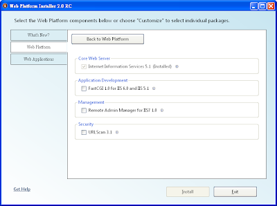Microsoft Web Platform Installer網站平台的自訂選項