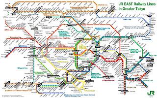 Mapa de las líneas de la JR de la zona de Kanto