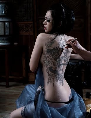 "Chinese dragon death skull tattoo ""Sexy women"""