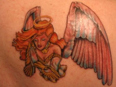 Little Fairy Angel Tattoos on back shoulder for girl