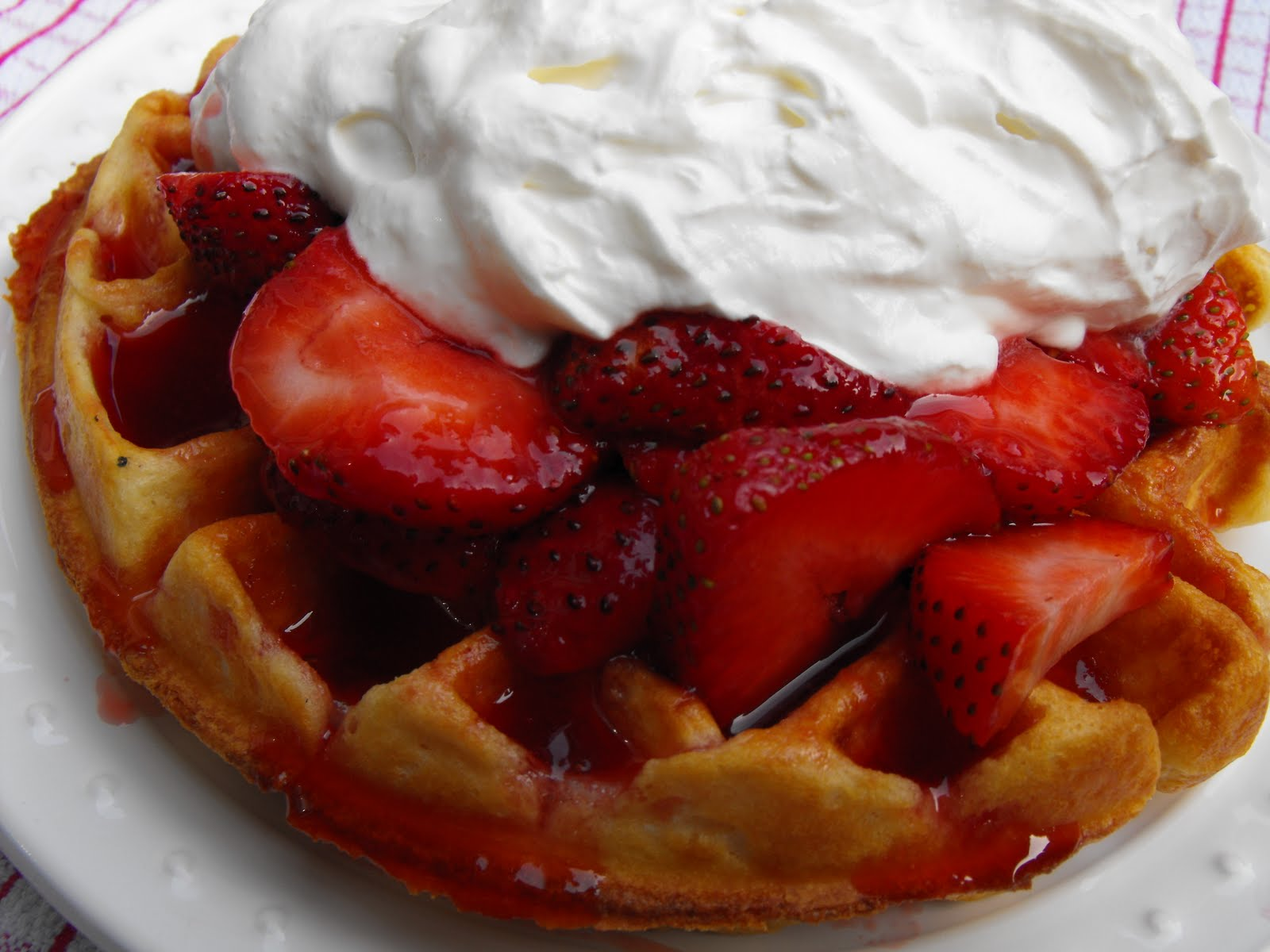 Belgian Waffles with Strawberries and Whipped Cream
