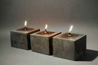 concrete oil lamp