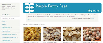 Purple Fuzzy Feet Store Front on Etsy