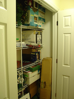 Vicky's closet full of Christmas Decorations
