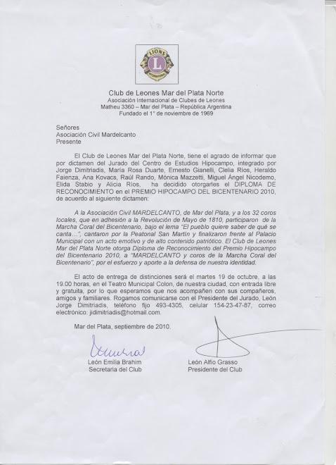 DISTINCIÓN A MARCHA CORAL DEL BICENTENARIO