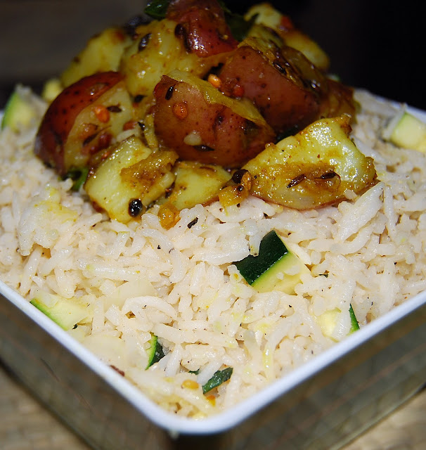 Indian-style rice salad with potato subzi