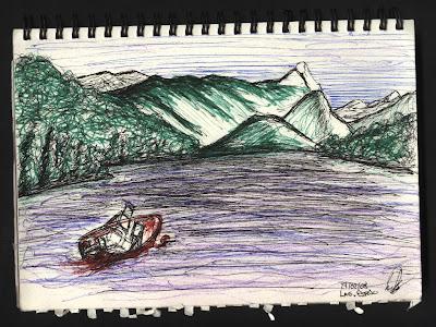 dibujo Lago Espejo. Bariloche. Argentina