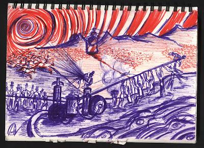dibujo azules y rojos