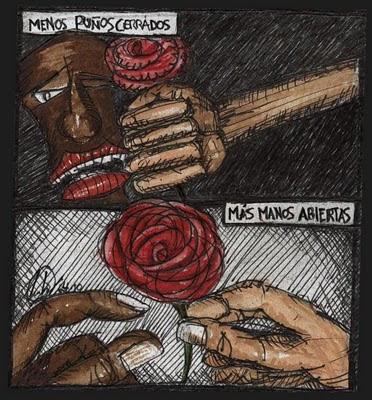 dibujo Menos puños cerrados, más manos abiertas (Less closed closed fists,  More open hands drawing)