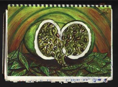 dibujo Bodegón: Maracuyá, la fruta de la pasión