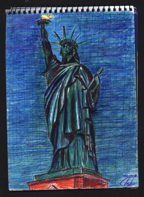 dibujo Estatua de la Libertad. Lady Liberty. Statue of Liberty. New York City drawing