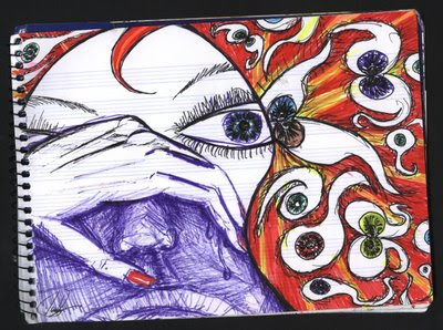 Dibujo: La bruja que da la vida con los ojos y alegria con las manos.