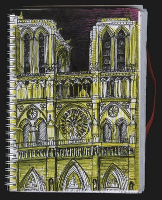 dibujo catedral Notre Dame, París. Notre Dam Cathedral drawing. Paris