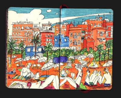 dibujo Playa de la Barceloneta. Barcelona drawing
