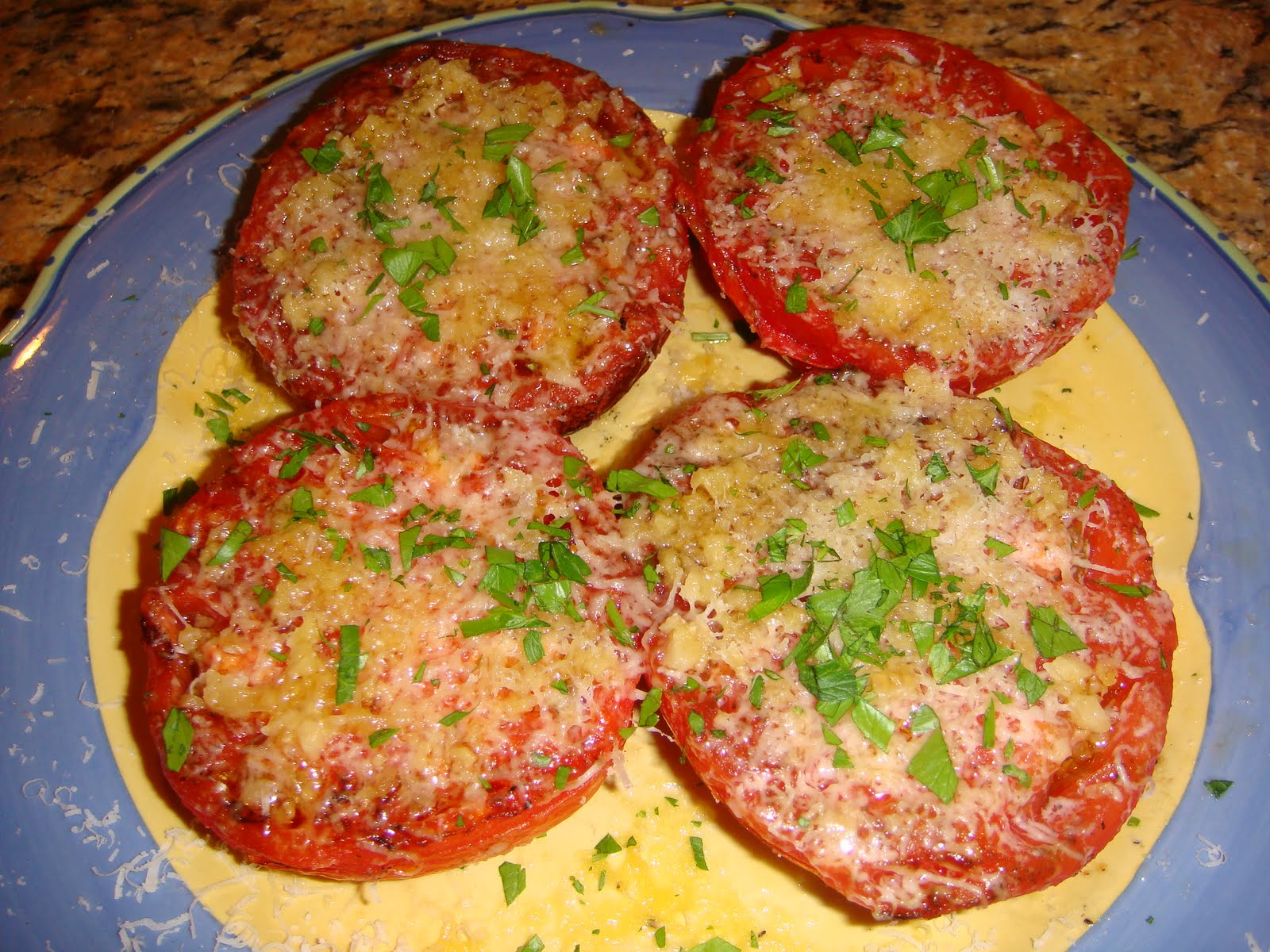 Grilled Tomatoes with Garlic & Parmesan Cheese