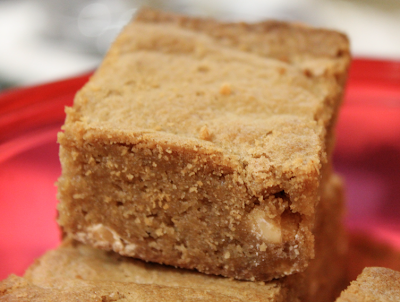 ... fudgy, soft peanut butter blondie studded with white chocolate chips