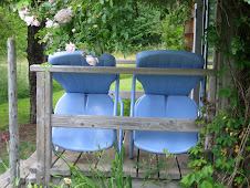 Blue chairs on a Denman Island Porch